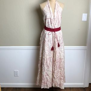 Anthropologie wrap embroidered maxi halter dress